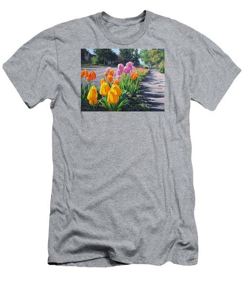 Men's T-Shirt (Slim Fit) featuring the painting Street Tulips by Karen Ilari