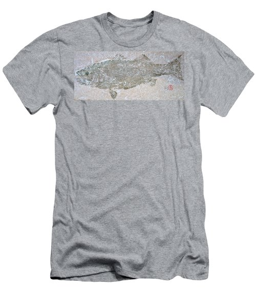 Striped Bass On White Thai Unryu  Men's T-Shirt (Athletic Fit)