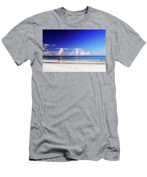 Men's T-Shirt (Athletic Fit) featuring the photograph Strolling The Beach by Gary Wonning