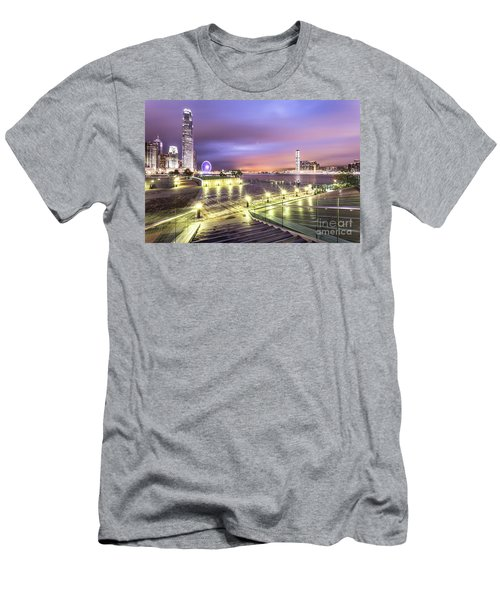 Stunning Night View Of The Famous Hong Kong Island Skyline And V Men's T-Shirt (Athletic Fit)