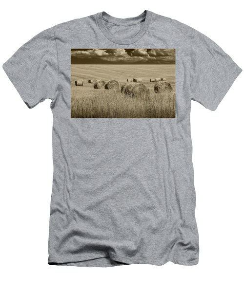 Summer Harvest Field With Hay Bales In Sepia Men's T-Shirt (Slim Fit) by Randall Nyhof