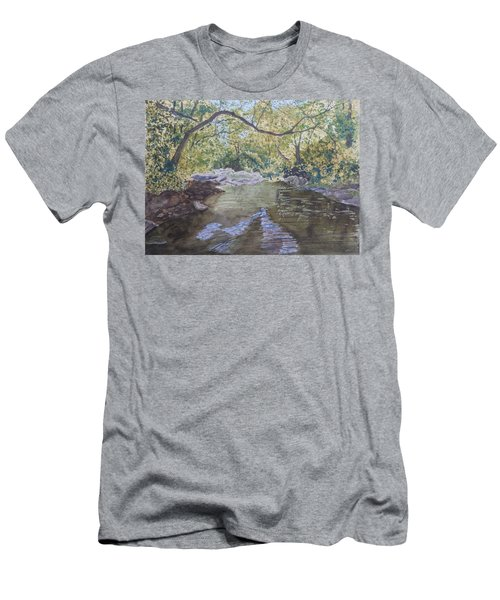 Men's T-Shirt (Athletic Fit) featuring the painting Summer On The South Tow River by Joel Deutsch