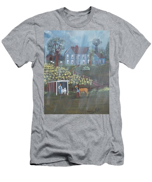 Men's T-Shirt (Slim Fit) featuring the painting Summer Rain by Virginia Coyle
