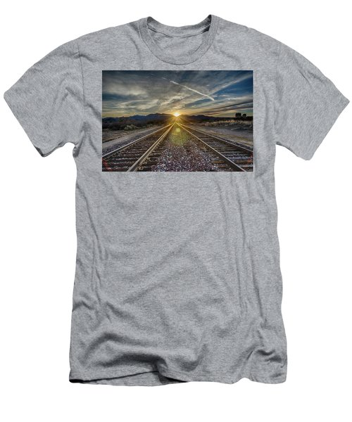 Sun Sets At The End Of The Line Men's T-Shirt (Slim Fit)