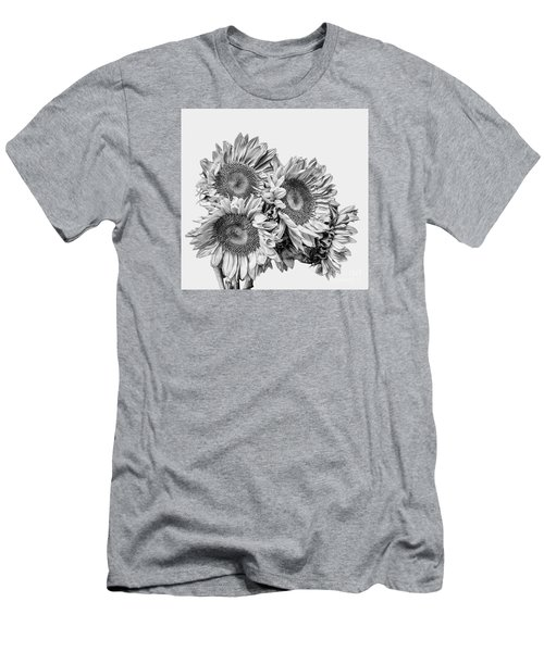 Sunflower Bouquet Bw Men's T-Shirt (Slim Fit) by Shirley Mangini