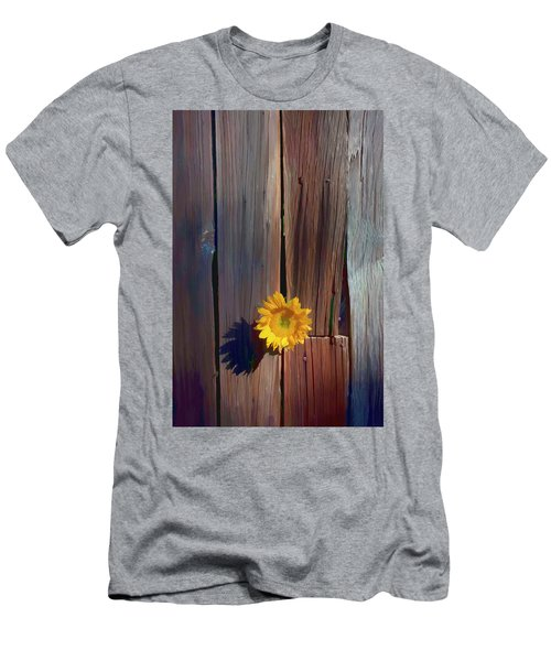 Sunflower In Barn Wood Men's T-Shirt (Athletic Fit)