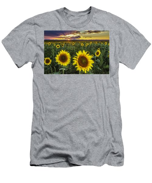 Men's T-Shirt (Slim Fit) featuring the photograph Sunflower Sunset by Kristal Kraft