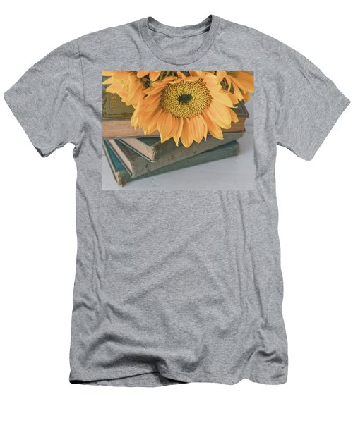 Men's T-Shirt (Athletic Fit) featuring the photograph Sunflowers And Books by Kim Hojnacki