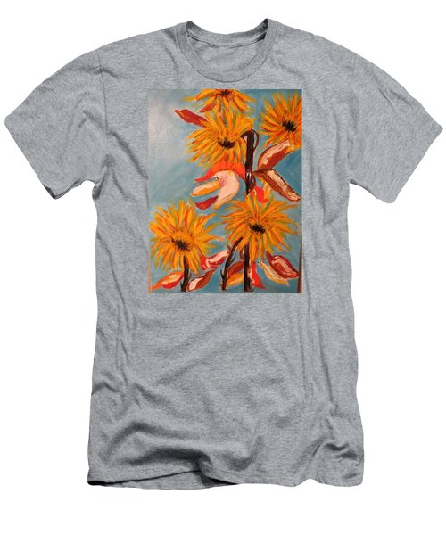 Men's T-Shirt (Slim Fit) featuring the painting Sunflowers At Harvest by Sharyn Winters