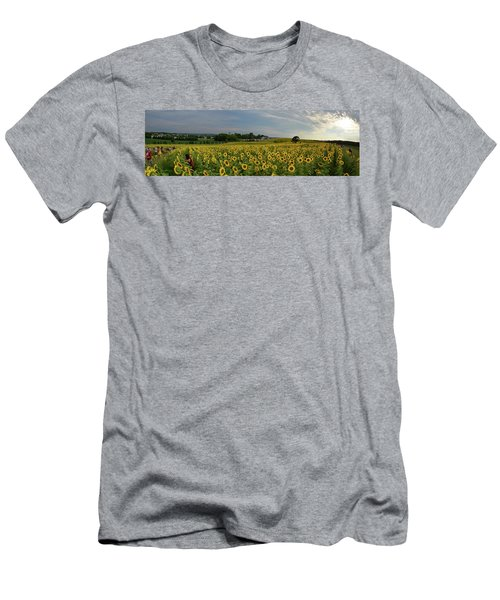 Men's T-Shirt (Slim Fit) featuring the photograph Sunflowers, People, And Pictures 2 by Janice Adomeit