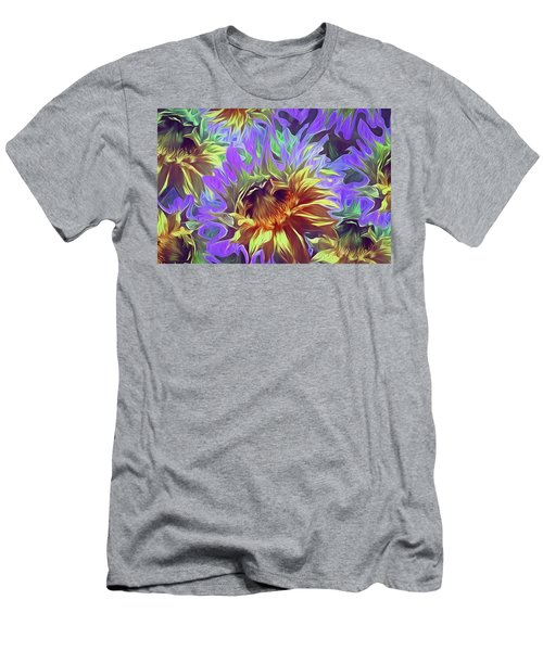 Men's T-Shirt (Athletic Fit) featuring the mixed media Sunflowers Rising 29  by Lynda Lehmann