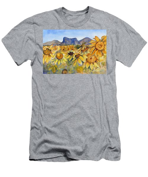 Men's T-Shirt (Athletic Fit) featuring the painting Sunflowers Springsure, Queensland by Ryn Shell