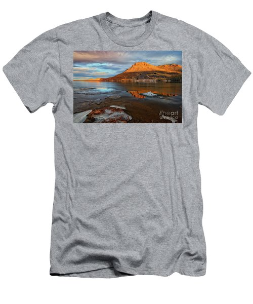 Sunlight On The Flatirons Reservoir Men's T-Shirt (Slim Fit) by Ronda Kimbrow