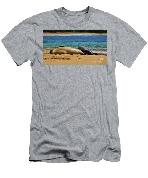 Sunning On The Beach In Hawaii Men's T-Shirt (Slim Fit) by Craig Wood