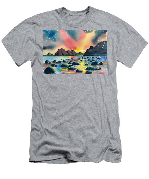 Men's T-Shirt (Slim Fit) featuring the painting Sunrise And Water by Terry Banderas