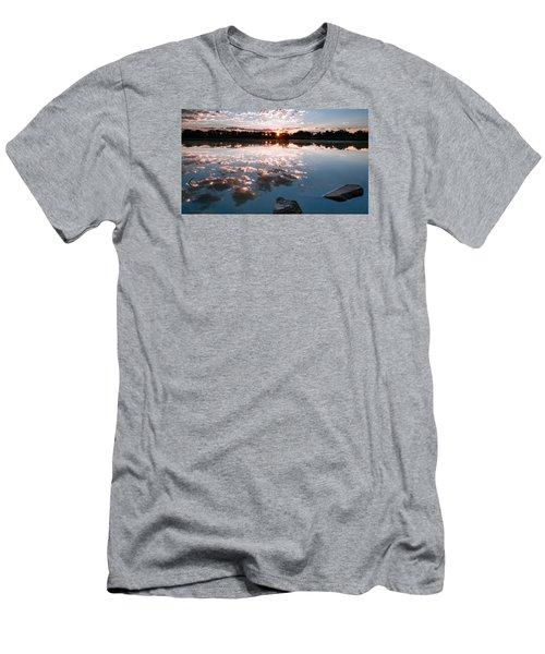 Men's T-Shirt (Slim Fit) featuring the photograph Sunrise At Cattails Chorus Ponds by Monte Stevens