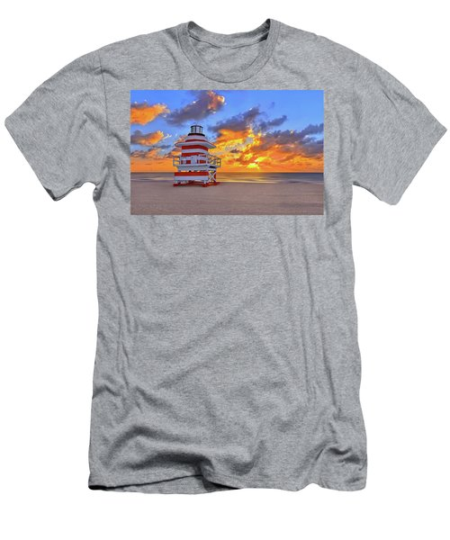 Sunrise Over Lifegaurd Stand On South Miami Beach  Men's T-Shirt (Athletic Fit)