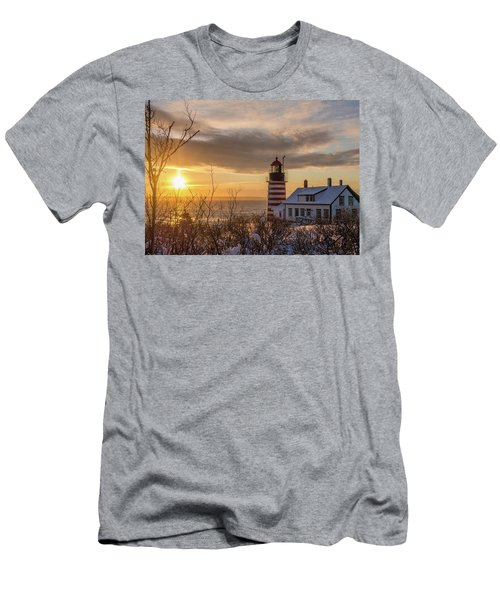 Sunrise West Quoddy Lighthouse Men's T-Shirt (Slim Fit) by Trace Kittrell