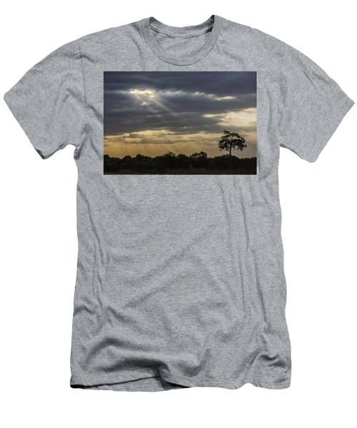 Men's T-Shirt (Slim Fit) featuring the tapestry - textile Sunset Africa 2 by Kathy Adams Clark