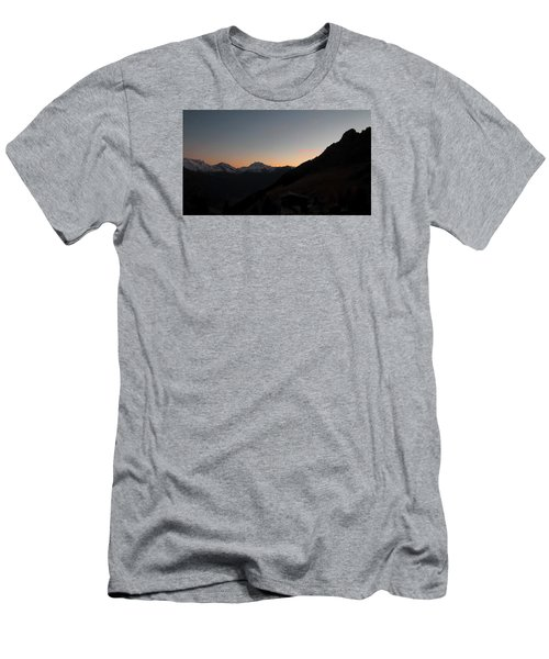 Sunset Afterglow In The Mountains Men's T-Shirt (Slim Fit) by Ernst Dittmar