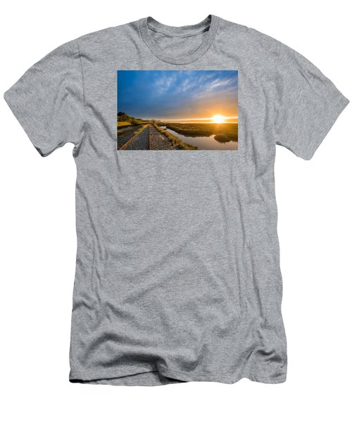 Sunset And Railroad Tracks Men's T-Shirt (Slim Fit) by Greg Nyquist