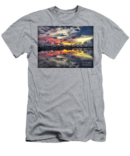 Sunset At Oyster Lake Men's T-Shirt (Slim Fit) by Walt Foegelle