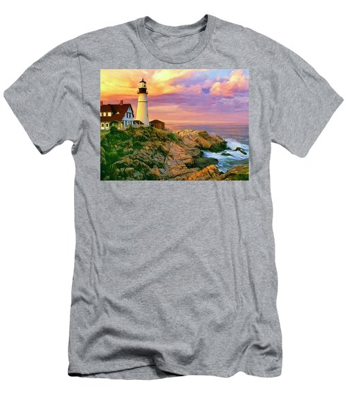 Sunset At Portland Head Men's T-Shirt (Athletic Fit)