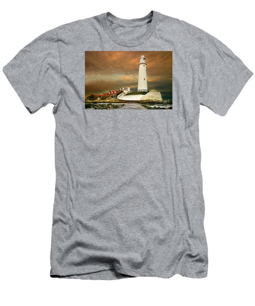Sunset At Saint Mary's Lighthouse Men's T-Shirt (Athletic Fit)