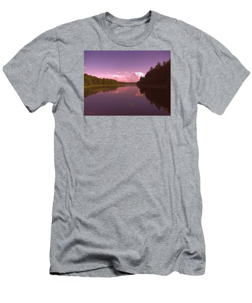 Men's T-Shirt (Slim Fit) featuring the photograph Sunset At The Lake by Debra     Vatalaro