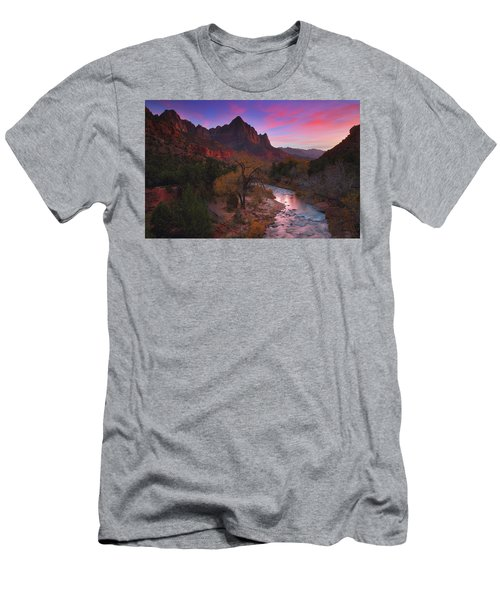 Sunset At The Watchman During Autumn At Zion National Park Men's T-Shirt (Athletic Fit)