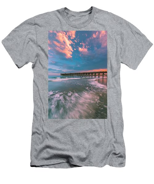 Men's T-Shirt (Athletic Fit) featuring the photograph Sunset At Wilmington Crystal Pier In North Carolina by Ranjay Mitra