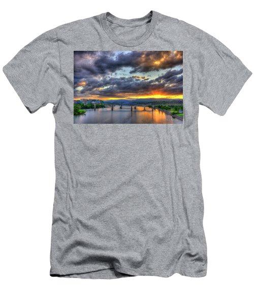 Sunset Bridges Of Chattanooga Walnut Street Market Street Men's T-Shirt (Athletic Fit)