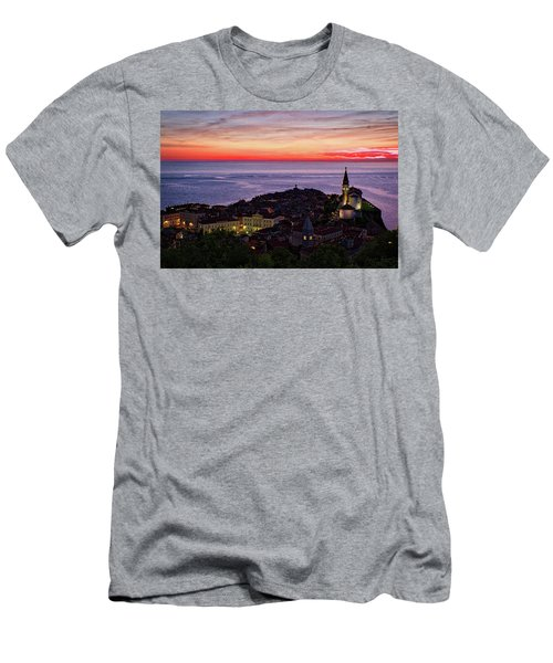 Men's T-Shirt (Athletic Fit) featuring the photograph Sunset From The Walls #3 - Piran Slovenia by Stuart Litoff