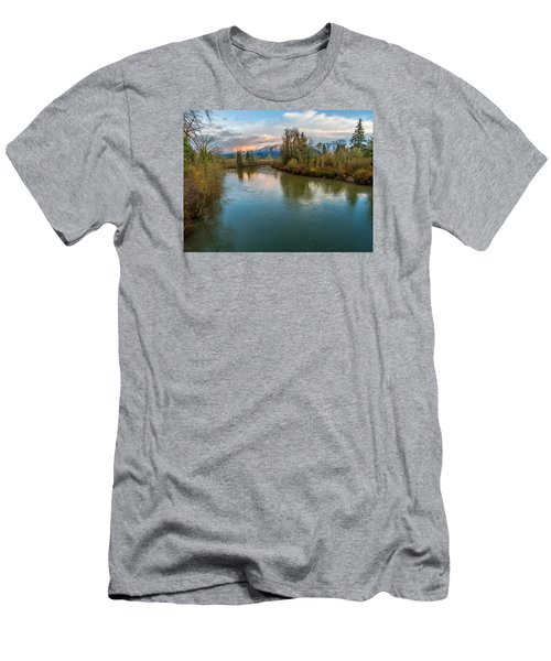 Sunset Glow Over The Snoqualmie River Men's T-Shirt (Slim Fit) by Rob Green