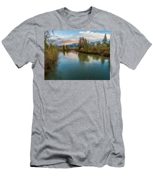 Sunset Glow Over The Snoqualmie River Men's T-Shirt (Athletic Fit)