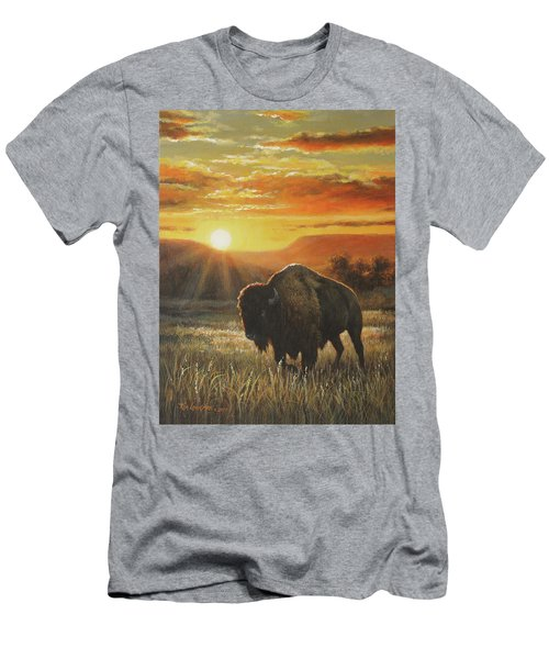 Men's T-Shirt (Slim Fit) featuring the painting Sunset In Bison Country by Kim Lockman