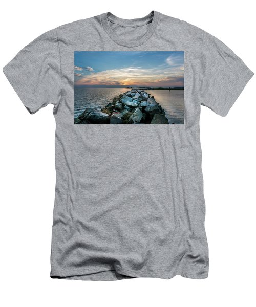 Sunset Over A Rock Jetty On The Chesapeake Bay Men's T-Shirt (Athletic Fit)