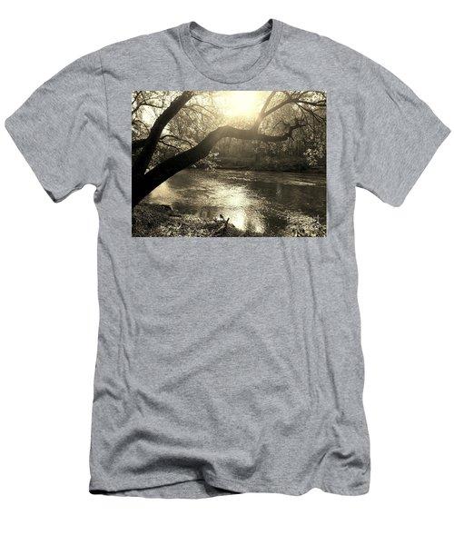 Sunset Over Flat Rock River - Southern Indiana - Sepia Men's T-Shirt (Slim Fit) by Scott D Van Osdol
