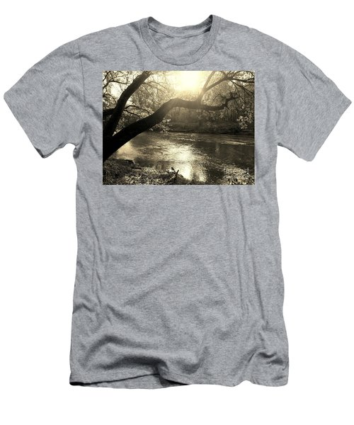 Sunset Over Flat Rock River - Southern Indiana - Sepia Men's T-Shirt (Athletic Fit)