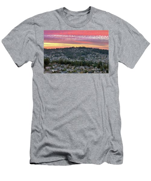 Sunset Over Happy Valley Residential Neighborhood Men's T-Shirt (Athletic Fit)