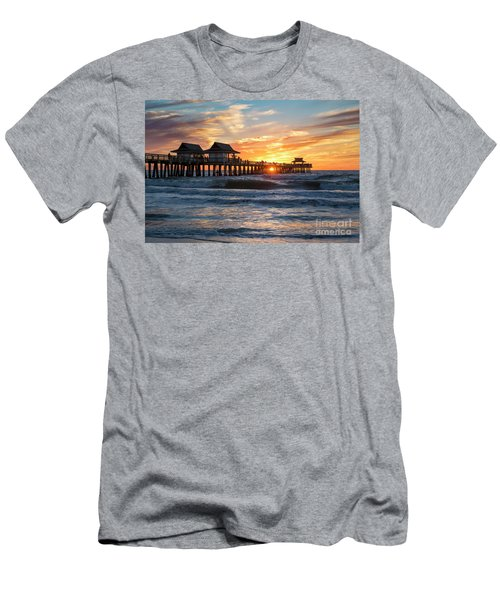 Men's T-Shirt (Slim Fit) featuring the photograph Sunset Over Naples Pier by Brian Jannsen