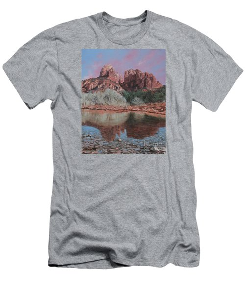 Sunset Over Red Rocks Of Sedona  Men's T-Shirt (Slim Fit) by Barbara Barber