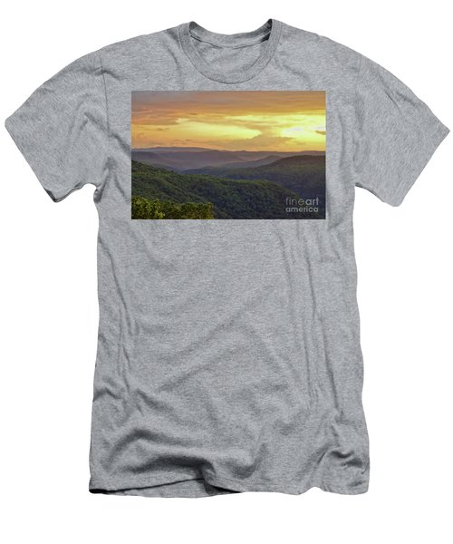 Men's T-Shirt (Athletic Fit) featuring the photograph Sunset Over The Bluestone Gorge - Pipestem State Park by Kerri Farley