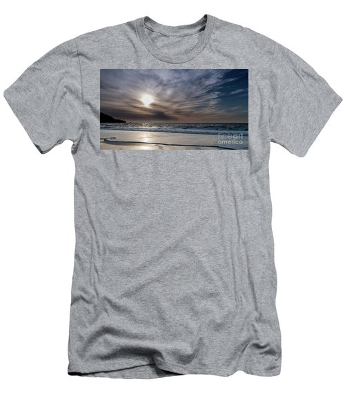 Sunset Over West Coast Beach With Silk Clouds In The Sky Men's T-Shirt (Athletic Fit)