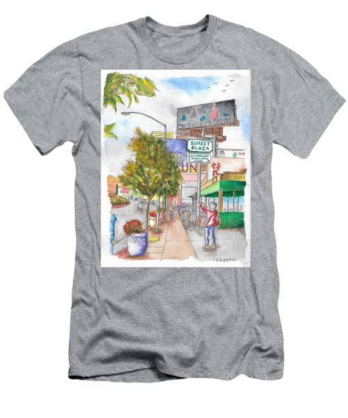 Sunset Plaza, Sunset Blvd., And Londonderry, West Hollywood, California Men's T-Shirt (Slim Fit) by Carlos G Groppa