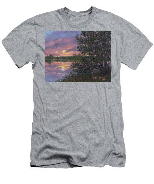 Men's T-Shirt (Slim Fit) featuring the painting Sunset River # 8 by Kathleen McDermott