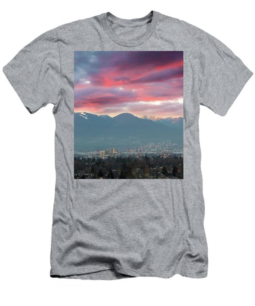 Sunset Sky Over Port Of Vancouver Bc Men's T-Shirt (Athletic Fit)