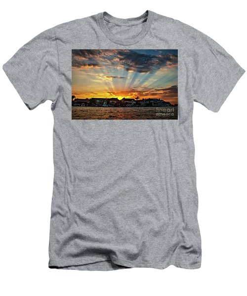 Sunset Sunrays Over Huntington Harbour Men's T-Shirt (Slim Fit) by Peter Dang
