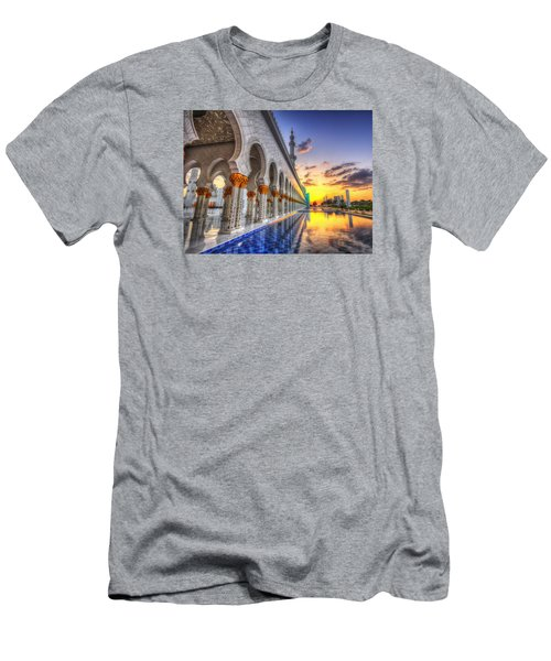 Sunset Water Path Temple Men's T-Shirt (Slim Fit) by John Swartz