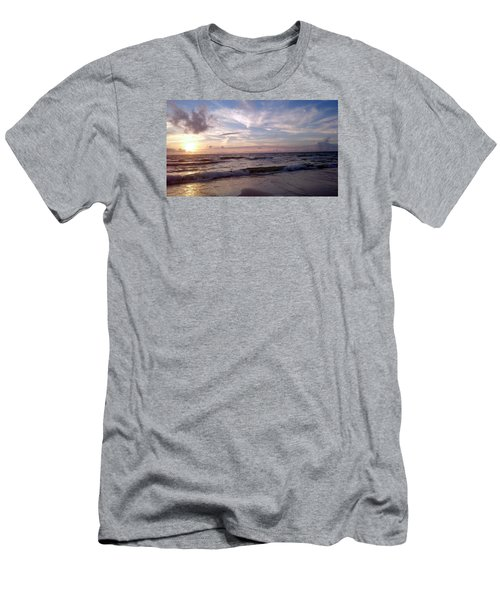 Men's T-Shirt (Slim Fit) featuring the painting Sunset Waves  by Vicky Tarcau